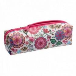 Estuche polipiel floral 19cm. rosa flores multicolor mandalas corazones mariposa cierre cremallera