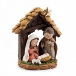Misterio nacimiento 12cm. Sagrada Familia portal imagen estilo infantil adorno resina decoración
