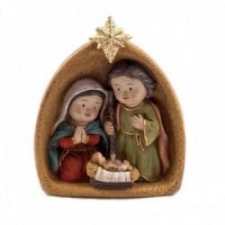 Misterio nacimiento 13cm. Sagrada Familia cueva imagen estilo infantil estrella adorno resina decoración