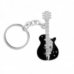 Llavero metálico 10cm. motivo guitarra eléctrica esmaltada negro lisa
