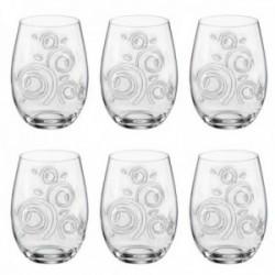Juego 6 vasos cristal bohemia 300ml. dibujo tallado formas circulares