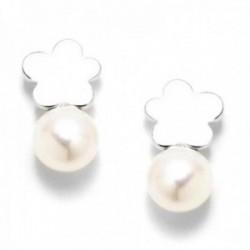 Pendientes plata Ley 925m rodiados Agatha Ruiz de la Prada colección Leonor 13mm. tú y yo nube perla