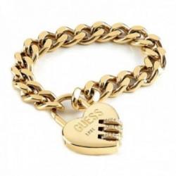 Pulsera Guess Lock Me Up UBB20063-S acero inoxidable chapado oro candado corazón cristales Swarovski