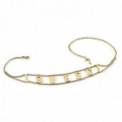 Gargantilla choker Guess Los Ángeles UBN20005 acero inoxidable chapado oro letras logo cristales