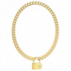 Gargantilla Guess Lock Me Up UBN20054 acero inoxidable chapado oro candado logo cristales Swarovski