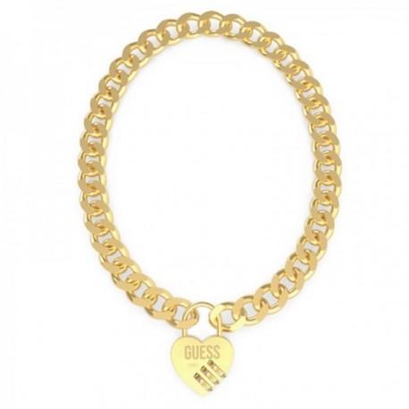 Gargantilla Guess Lock Me Up UBN20056 acero inox. chapado oro candado corazón cristales Swarovski