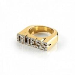 Sortija Guess College 1981 UBR20019 acero inoxidable chapado oro letras logo cristales Swarovski