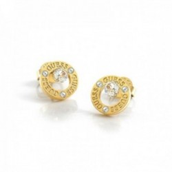 Pendientes Guess All Around You UBE20135 acero inoxidable chapado oro logo aro cristales Swarovski