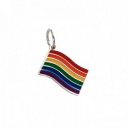 Colgante plata Ley 925m bandera orgullo LGTBI esmaltada unisex