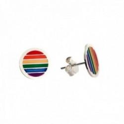 Pendientes plata Ley 925m redondos bandera orgullo LGTBI cierre presión mujer