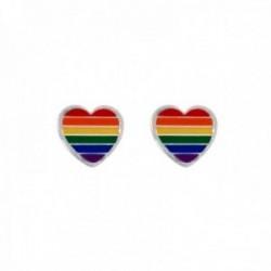 Pendientes plata Ley 925m corazón bandera orgullo LGTBI cierre presión mujer