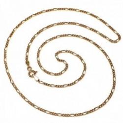 Cadena oro 18k hueca 50cm. eslabón alterno 3x1 ancho 1.50 mm. 2,45 grs. cierre reasa unisex