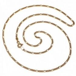 Cadena oro 18k maciza 50 cm. eslabón alterno 3x1 ancho 1 mm. 1.90 grs. cierre reasa unisex