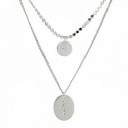 Gargantilla Lineargent plata Ley 925m rodiada doble cadena motivos moneda estrella cruz circonitas