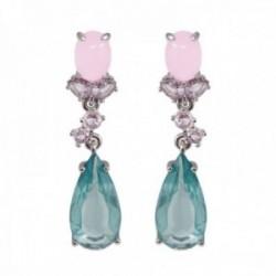 Pendientes Lineargent plata Ley 925m rodiada 36.9mm. cuarzo diamantino rosa lila azul lágrima