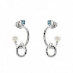 Pendientes Lineargent plata Ley 925m rodiada aros criolla perla cuarzo adamantino azul colgante aro