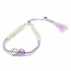 Pulsera Lineargent plata Ley 925m adaptable hilo color morado perlas cultivadas piedra amatista
