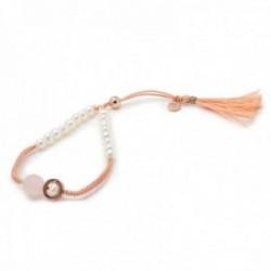 Pulsera Lineargent plata Ley 925m adaptable hilo color salmón perlas cultivadas piedra cuarzo rosa