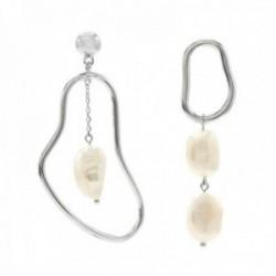 Pendientes Lineargent plata Ley 925m rodiados asimétricos formas irregulares perlas cultivadas