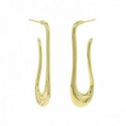 Pendientes Lineargent plata Ley 925m baño oro 41.7mm. colección líguido gota irregular