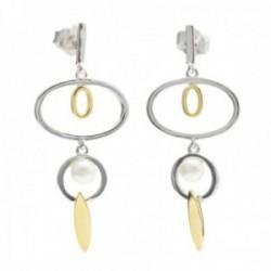 Pendientes  Lineargent plata Ley 925m bicolor rodio detalle baño oro formas ovaladas perla cultivada