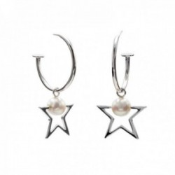 Pendientes Lineargent plata Ley 925m rodiada aro 26.7mm. colgante motivo estrella perla