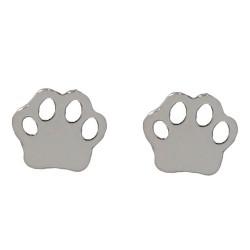 Pendientes mini plata Ley 925m par huella perro 5mm. mujer cierre presión