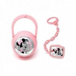Juego pinza porta chupete plata Ley 925m bilaminada Disney bebé Minnie