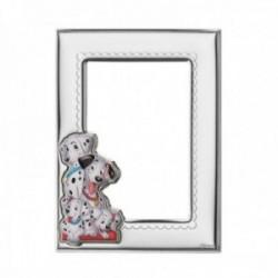 Marco portafotos plata Ley 925m Disney bilaminado foto 9x13cm. 101 Dalmatas plateado efecto espejo