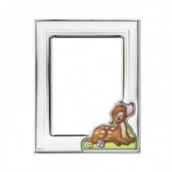 Marco portafotos plata Ley 925m Disney bilaminada foto 9x13cm. Bambi plateado efecto espejo