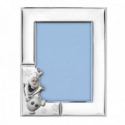 Marco portafotos plata Ley 925m bilaminada Disney foto 13x18cm. Frozen Olaf plateado efecto espejo