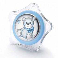 Luz nocturna infantil enchufe pared oso lazo azul estrella transparente