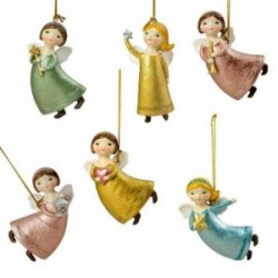 Set 6 figuras ángeles volando imagen 9cm. diferentes colores adorno navideño resina decoración