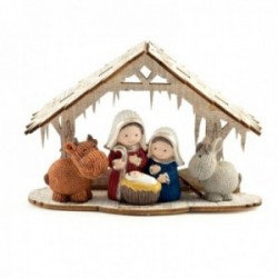Misterio Nacimiento 15cm. Sagrada Familia portal madera imagen estilo infantil adorno resina decoración