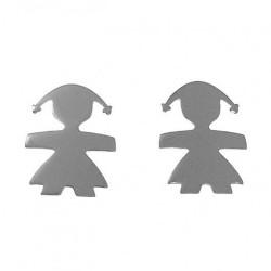 Pendientes mini plata Ley 925m par muñeca niña 6mm. mujer cierre presión