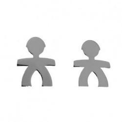 Pendientes mini plata Ley 925m par muñeco niño 6mm. mujer cierre presión