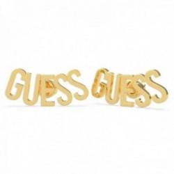 Pendientes Guess Los Ángeles UBE20001 acero inoxidable chapado oro letras logo