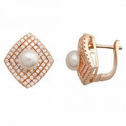 Pendiente plata baño rosa circonita perla cultivada botón 7mm [6045P]