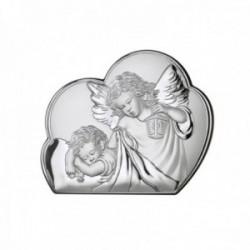 Imagen icono plata Ley 925m bilaminada 11cm. Ángel custodio mate brillo parte trasera madera