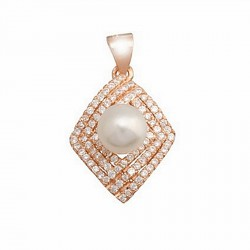 Colgante plata baño rosa circonita perla cultivada botón 7mm. [6045T]