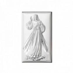 Imagen icono plata Ley 925m bilaminada 11cm. Jesús misericordioso mate brillo parte trasera madera