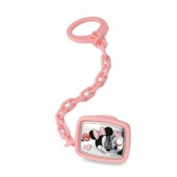 Pinza chupete plata Ley 925m bilaminada bebé Disney Minnie rosa