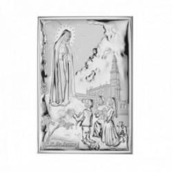 Imagen icono plata Ley 925m bilaminada 17cm. Virgen de Fátima mate brillo parte trasera madera