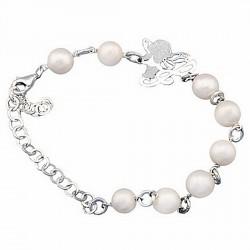 Pulsera plata Hada 8 perlas cultivadas botón 8mm. [6047]