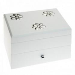 Joyero detalle plata Ley 925m bilaminada madera blanca flores interior espejo