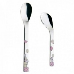 Set 2 cucharas papilleras acero inox. 18/10 infantil Puresigns animales esmaltados rosa trasera lisa
