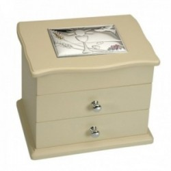 Joyero comunión detalle plata Ley 925m bilaminada madera beige dos cajones espejo interior