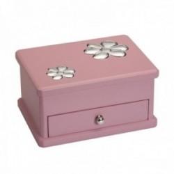 Joyero detalle plata Ley 925m bilaminada madera rosa flores interior diferentes compartimentos
