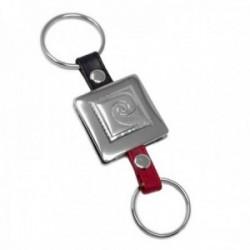 Llaveros metálicos Pierre Cardin logo en plata Ley 925m bilaminada dos piezas