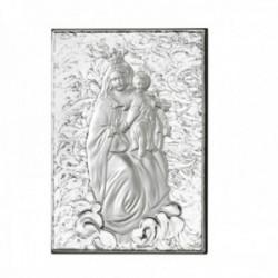Imagen icono plata Ley 925m bilaminada 13cm. Virgen del Carmen brillo mate parte trasera madera